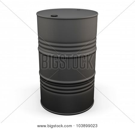 Black Metal Oil Drum. 3D.