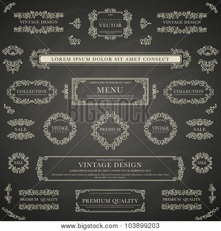 Set of white decorative vintage design elements for label, logo, emblem design on blackboard background