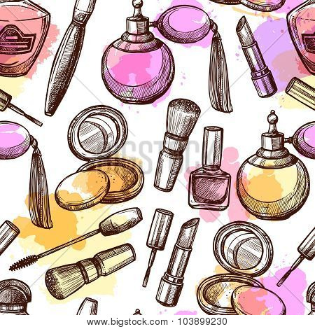 Hand Drawn Cosmetics Seamless Pattern