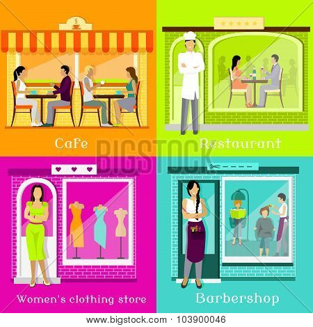 Set Cafe Restaurant Shop Hairdresser