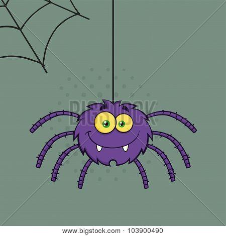 Smiling Purple Halloween Spider