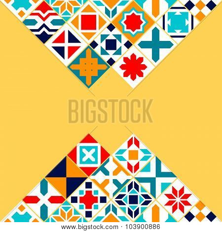 Colorful geometric tiles background, vector