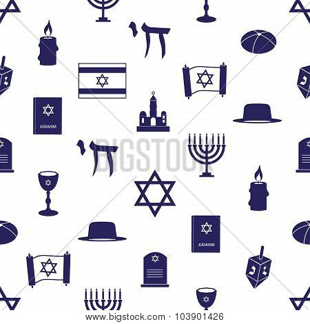 Judaism Religion Symbols Seamless Blue Pattern Eps10