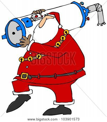 Santa carrying a water heater