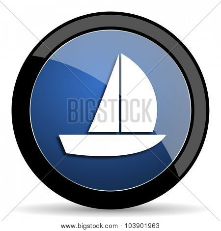 yacht blue circle glossy web icon on white background, round button for internet and mobile app