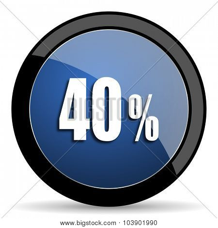 40 percent blue circle glossy web icon on white background, round button for internet and mobile app