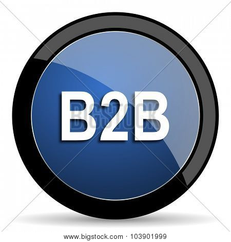 b2b blue circle glossy web icon on white background, round button for internet and mobile app