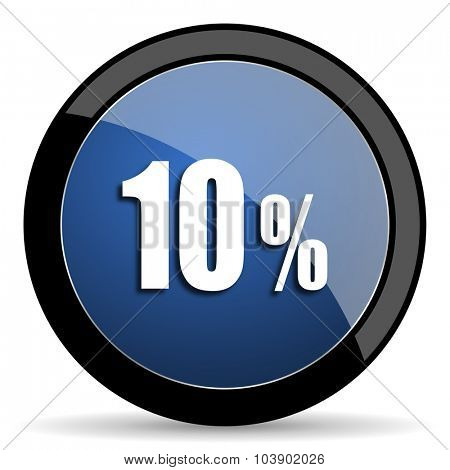 10 percent blue circle glossy web icon on white background, round button for internet and mobile app