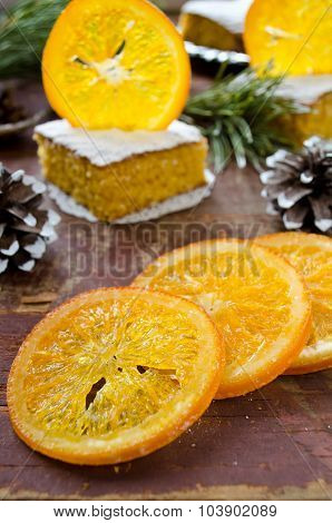 Orange cake with caramelized oranges, christmas decoration