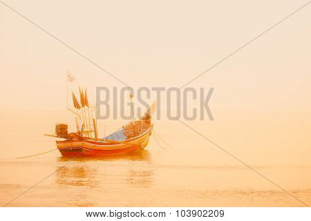A Traditional Cormorant Traditional Thai Long Tail Boat At The Fishing Village On Songkhla, Thailand