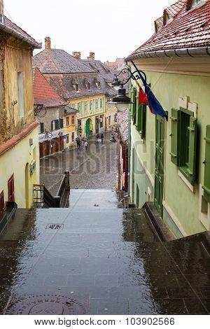 Street view in Sibiu, Transylvania, Romania