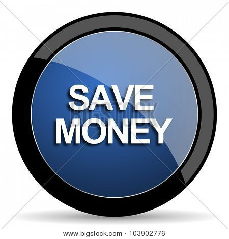 save money blue circle glossy web icon on white background, round button for internet and mobile app
