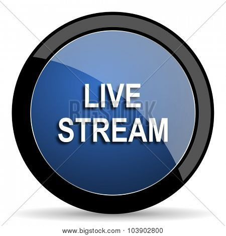live stream blue circle glossy web icon on white background, round button for internet and mobile app