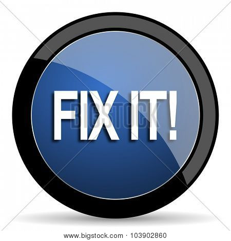 fix it blue circle glossy web icon on white background, round button for internet and mobile app