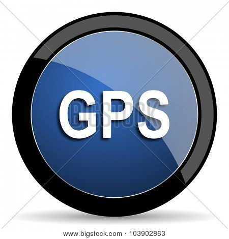 gps blue circle glossy web icon on white background, round button for internet and mobile app
