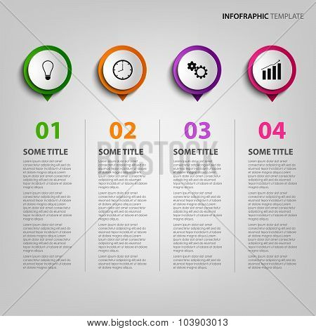 Info Graphic With Colored Circular Pointers Template