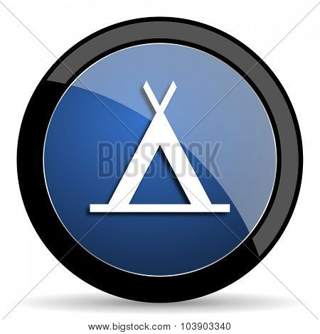 camp blue circle glossy web icon on white background, round button for internet and mobile app