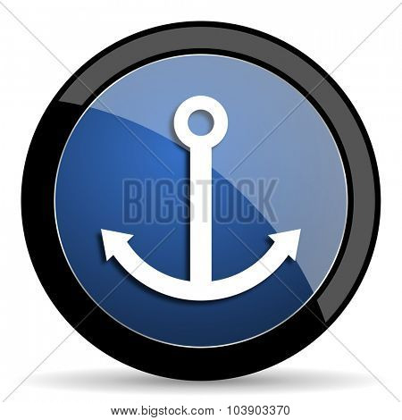 anchor blue circle glossy web icon on white background, round button for internet and mobile app
