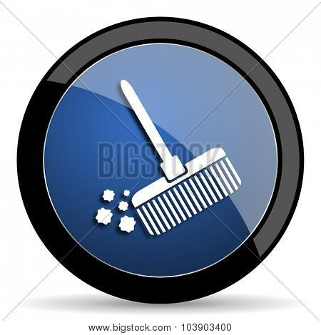 broom blue circle glossy web icon on white background, round button for internet and mobile app