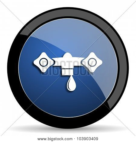 water blue circle glossy web icon on white background, round button for internet and mobile app