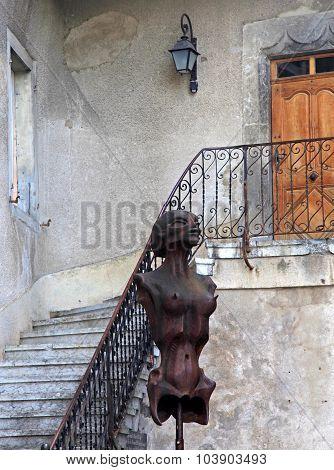Surrealist Sci-fi Women Statue In H.r. Giger Museum In Gruyeres, Switzerland