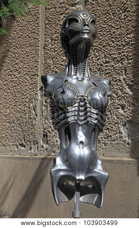 Surrealist Sci-fi Women Statue In H.r. Giger Museum In Gruyeres, Switzerland