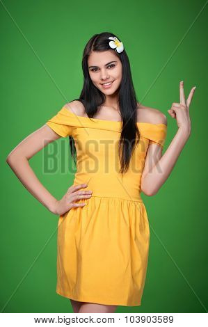 Woman showing V sign