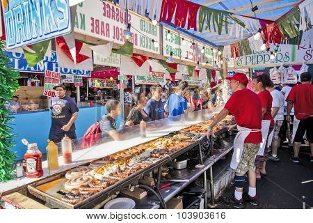 NEW YORK, USA - Sept 18th, 2015: Food vendors at the Little Italy on Mulberry St. during the Feast Of San Gennaro