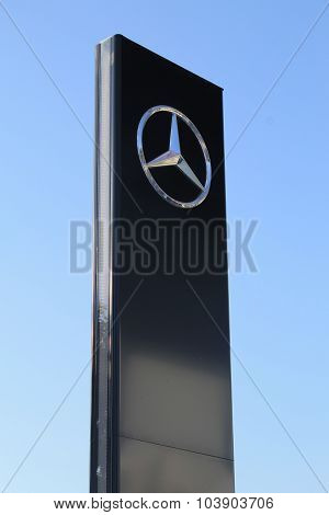 Mercedes-benz Sign Against Sky In Herzliya, Israel.