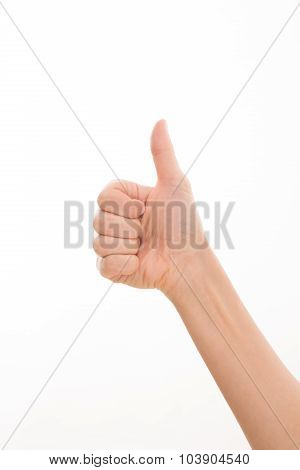 Woman's hand expressing success