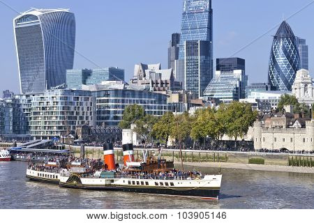 View of City of London famous landmarks by Thames and WAVERLEY ship
