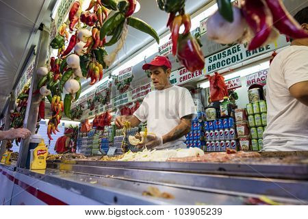 NEW YORK, USA - Sept 18th, 2015: Food vendor selling Italian food in Little Italy on Mulberry St. during the Feast Of San Gennaro