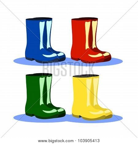 Set Of Bright Colorful Rainboots In Blue, Red, Yellow And Green Colors. Vector Illustration.