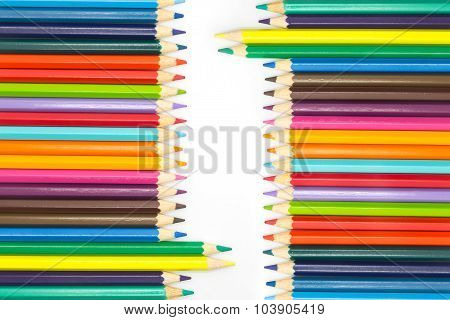 Set of Wooden colours pencils on white
