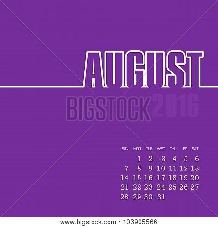 August 2016 year vector calendar