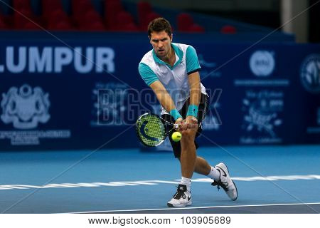 KUALA LUMPUR, MALAYSIA - SEPTEMBER 26, 2015: Mischa Zverev of Germany plays his qualifying match in the Malaysian Open 2015 Tennis tournament held at the Putra Stadium, Malaysia.