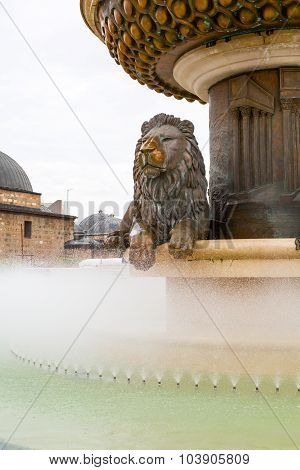 Lion statue fountain in downtown of Skopje, Macedonia with copyspace