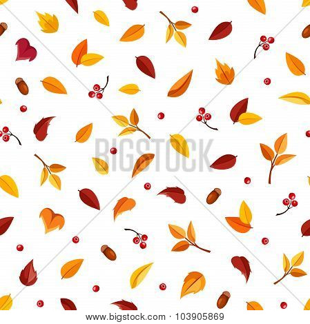 Seamless pattern with small autumn leaves on white. Vector illustration.