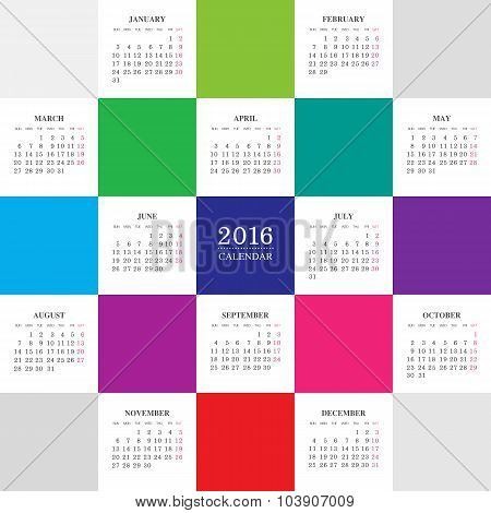 Calendar 2016 year with colored square