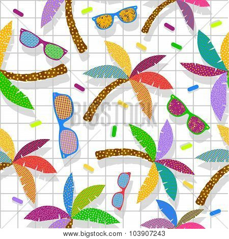 Retro Vintage Hipster Summer 80S Pattern Backdrop