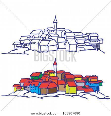 village cartoon doodle