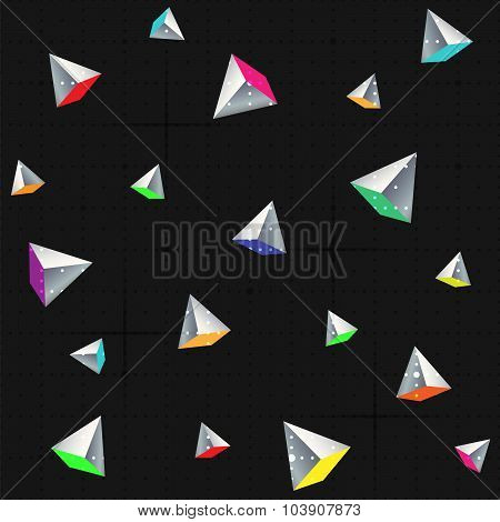 Geometric Seamless Pattern With colorful Pyramids.