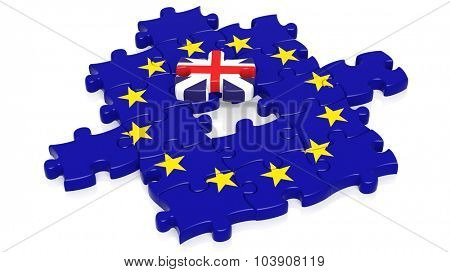 Jigsaw puzzle flag of European Union with United Kingdom flag piece, isolated on white