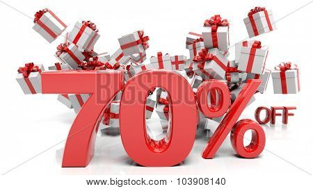 70% 3D numbers with bunch of gift boxes,isolated on white background.