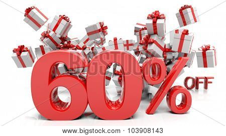 60% 3D numbers with bunch of gift boxes,isolated on white background.