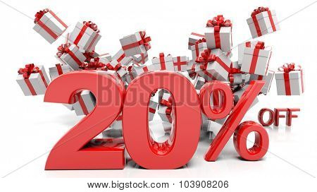 20% 3D numbers with bunch of gift boxes,isolated on white background.