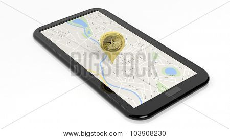 Compass pointer on tablet screen with map, isolated on white background.