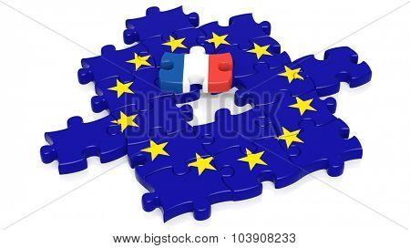 Jigsaw puzzle flag of European Union with France flag piece, isolated on white.