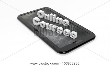 Online Courses 3D text on tablet, with blackboard on screen. Isolated on white