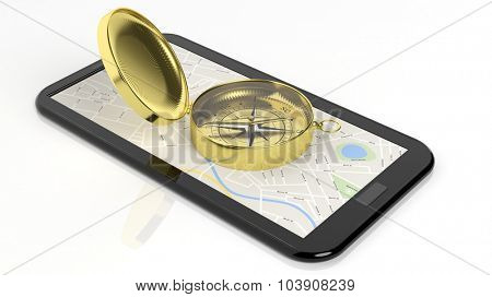 Golden compass on tablet screen with map, isolated on white background.